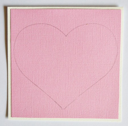 Turtle Dove of Love Valentine Card - heart outline on the pink cardstock