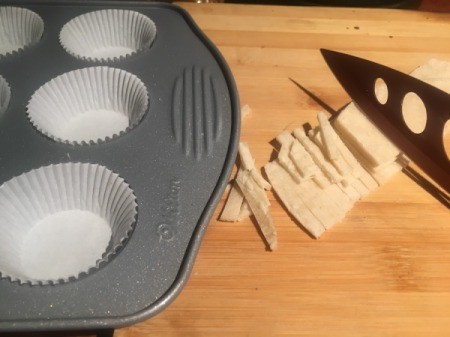 lining baking tins and cutting tortilla strips