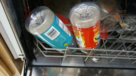 Recycled plastic bottles in the dishwasher.
