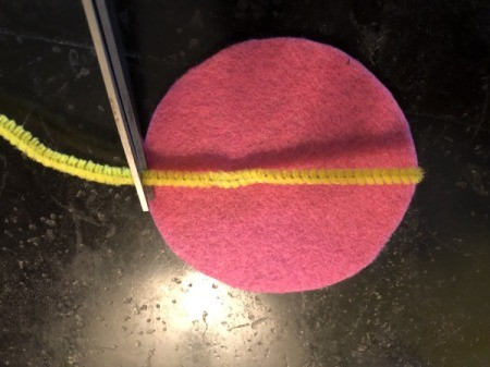 Felt Fortune Cookies - cut a pipe cleaner a bit shorter than the diameter of the felt circle