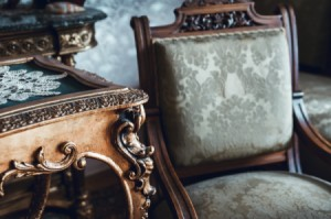A collection of antique furniture.