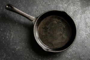A clean cast iron skillet.