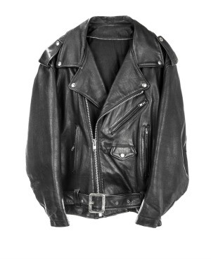 A black leather jacket with silver zipper and snaps.