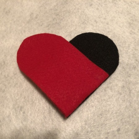 Woven Felt Heart - place the red piece over the black to form a heart