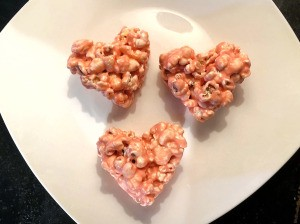Marshmallow Popcorn Hearts on plate