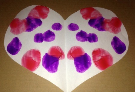 Heart Symmetry Paintings - use at least two colors, add more for more intricate designs