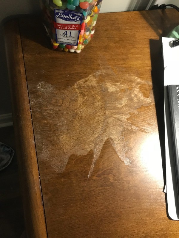 Spilled Nail Polish Remover On Wood Table Stain
