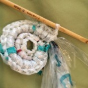 Dry cleaner's bags being used to crochet
