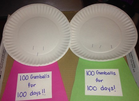 100th Day of School Paper Plate - Gumball Machines - glue the construction paper trapezoid on to the cardboard one and then staple a paper plate to the top of each