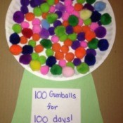 100th Day of School Paper Plate Gumball Machines  - spread glue on the plate with the cardboard/construction paper base and stick down one hundred pom poms