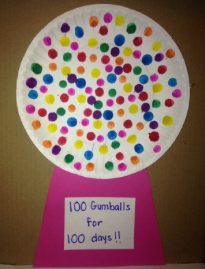 100th Day of School Paper Plate Gumball Machines  - alternative method is to make 100 dots using a bingo marker