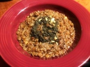 Lentil Stew with Fried Mint Sauce in bowl