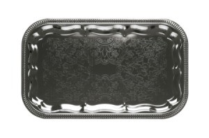 A silver colored metal tray for serving