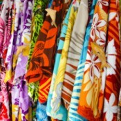 Hawaiian Aloha shirts in many bright colors.