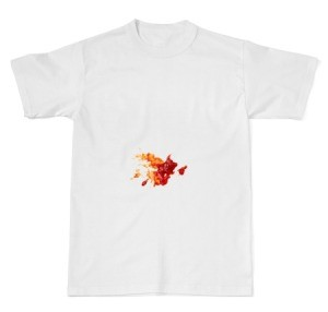 A red stain from hot sauce in the middle of a white t-shirt.
