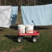 Using buckets and a red wagon to transport wet clothing to the clothesline.