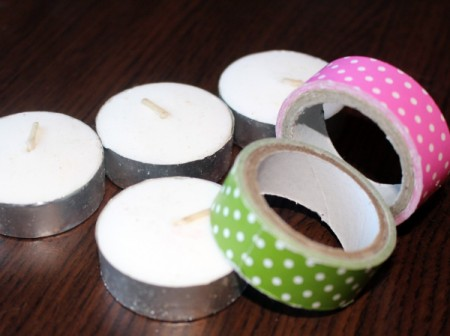 Fancy Tea Lights - tea lights and rolls of decorative tape