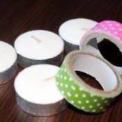 Fancy Tea Lights - tea lights and rolls of decorative tape