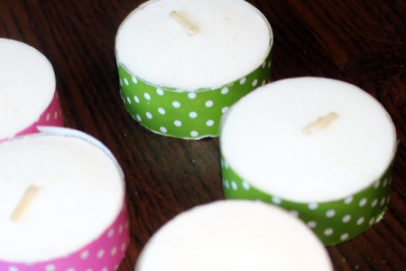 Fancy Tea Lights - tea light containers wrapped with tape