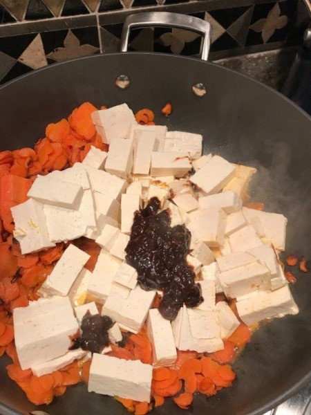 Tofu, Carrots and Black Bean Sauce in pan in pan