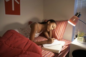 Young Woman Studying at College