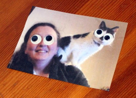 Crazy Wiggle Eye Greetings Card - cut a photo of your friend or family member with the pet to size then glue on eyes