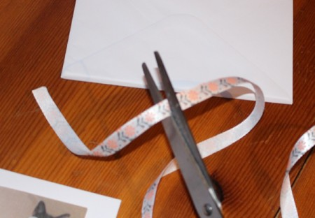 Crazy Wiggle Eye Greetings Card - cut ribbon to fit around the photo