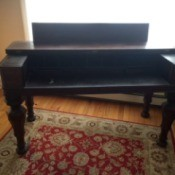 Identifying an Antique Desk - dark wood fold top desk