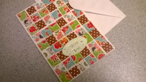 Patchwork Greetings Card - finished card and envelope