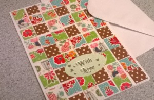 Patchwork Greetings Card - finished card with an envelope