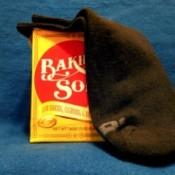Using baking soda in socks to deodorize feet smells.