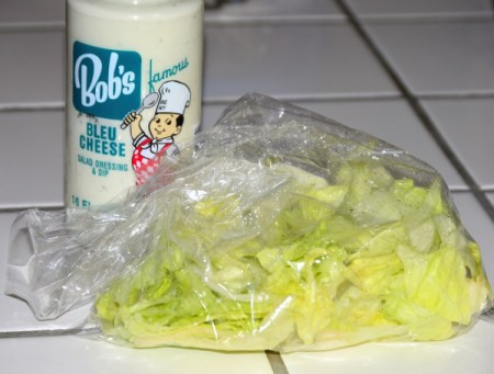 A bag of wet lettuce.