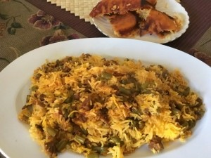 Beef and Green Bean Rice on plate (Loobia Polo)