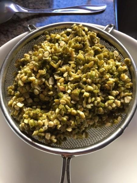 straining Mung Beans