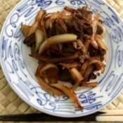 Japanese Style Beef and Onions on plate