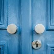 Front double door painted blue.