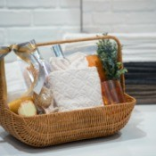 Gift basket full of spa items.