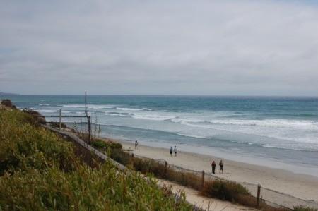 The beach and coastline at Del Mar City Beach in California.