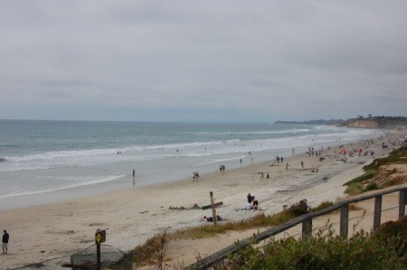 The beach and coastline at Del Mar City Beach in California.