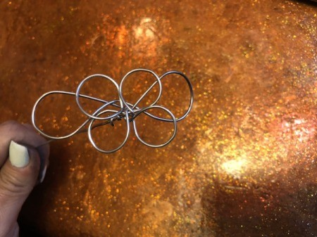 Painted Wire Flowers and Clover - to add leaves to flowers make a couple of extra, bigger petals to add on