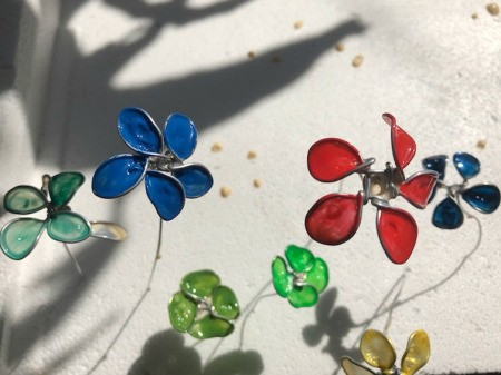 Painted Wire Flowers and Clover - allow to dry for at least 15 minutes
