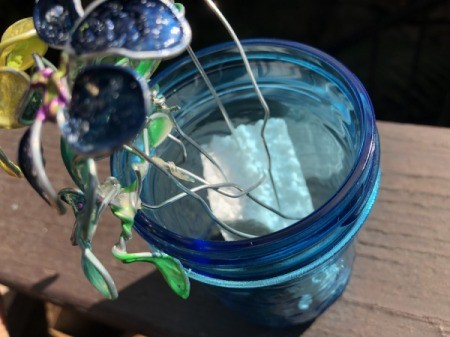 Painted Wire Flowers and Clover - glue a block of Styrofoam inside a jar or vase if you like and add flowers