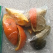 A ziplock baggie of citrus peels for use in the garbage disposal.