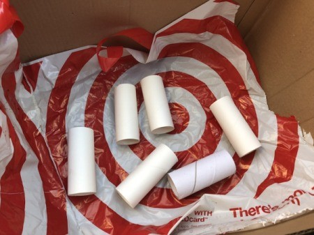 Cardboard Tube Pencil Organizer - place the tubes in a plastic lined cardboard box in a well ventilated area