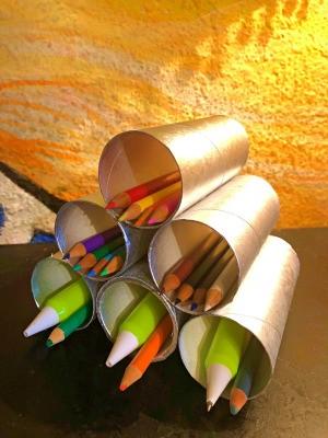 Cardboard Tube Pencil Organizer - finished holder
