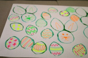 Easter Bunny and Egg Silhouette Stamps - egg shapes decorated