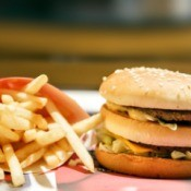 Big Mac hamburger and a side of fries.