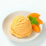 Peach Ice Cream with slices of peaces.