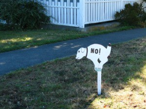 "Yard sign of a dog pooping with ""No!"" painted on it."