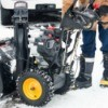 Close up of a snowblower.